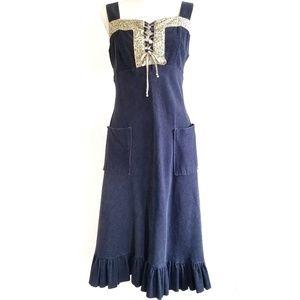 Vintage Corduroy dress Navy Blue lace front 13